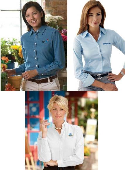 Embroidered Women's Long Sleeve Woven Shirt Grab Bag